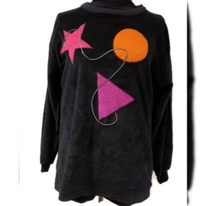 Vintage 80s Velour Sweater Abstract sz M